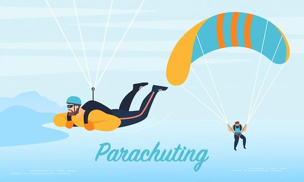 Fallschirmspringen-extremsport, der flache fahne annonciert