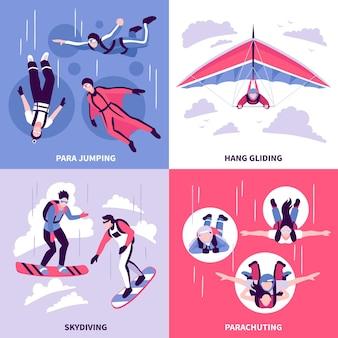 Fallschirmspringen-konzeptikonen, die mit flacher isolierter vektorillustration des hängegleitensymbols eingestellt werden