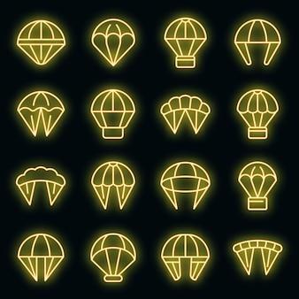 Fallschirmspringen symbole gesetzt. umrisse von fallschirmspringen vektorsymbolen neonfarbe auf schwarz