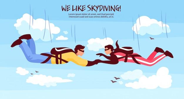 Fallschirmspringen team illustration