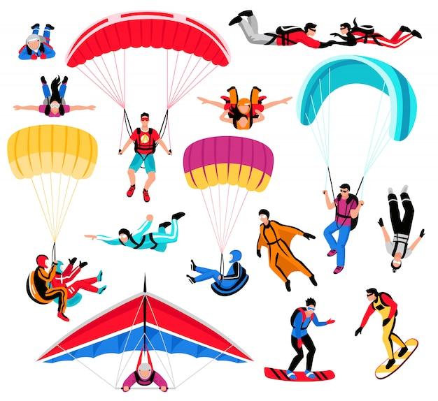 Fallschirmspringen und extremsport-set