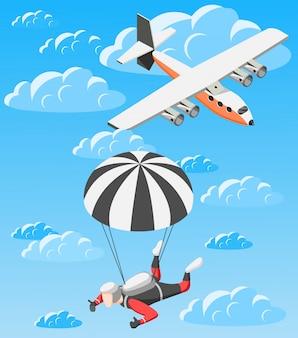 Fallschirmspringende person und flugzeug