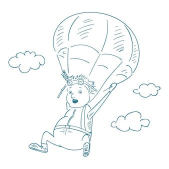 Fallschirmspringer im skizzenstil