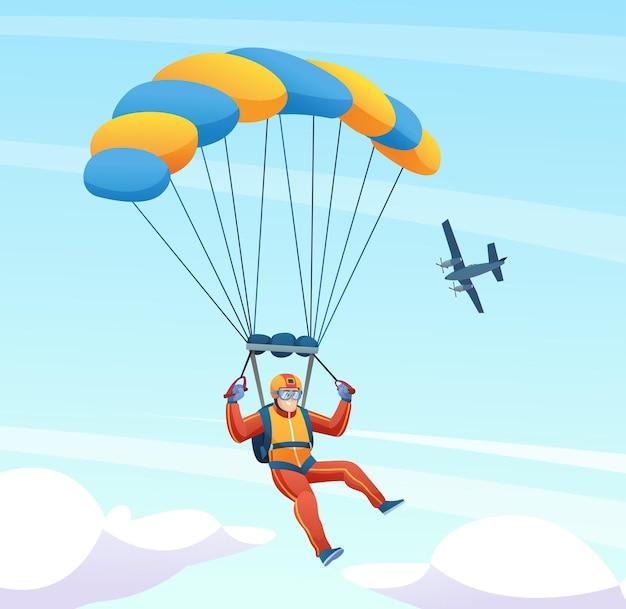 Fallschirmspringer mit flugzeug in der himmelsillustration