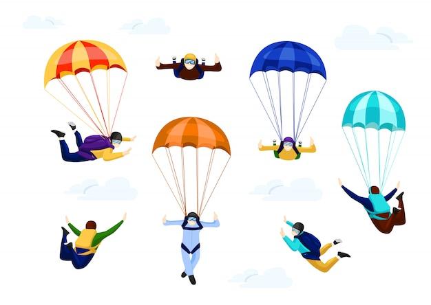 Fallschirmspringer setzen auf fallschirm