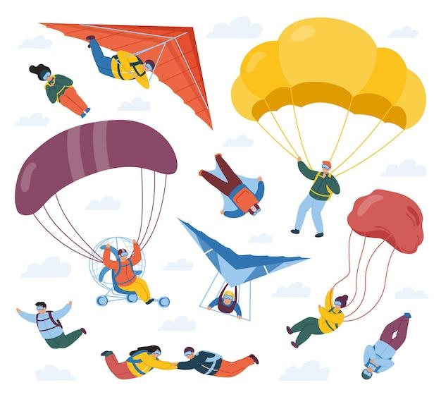 Fallschirmspringer sportler isoliert auf weiß