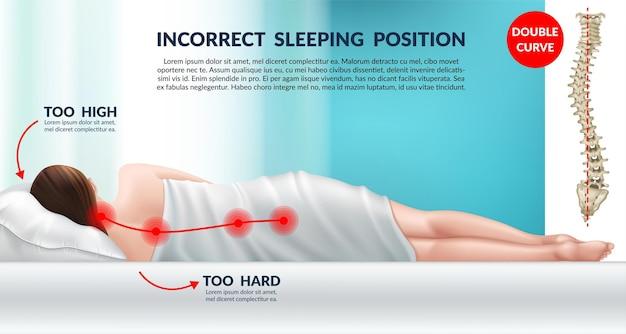 Falsche haltung zum schlafen auf einem normalen kissen falsche position der halswirbel Premium Vektoren