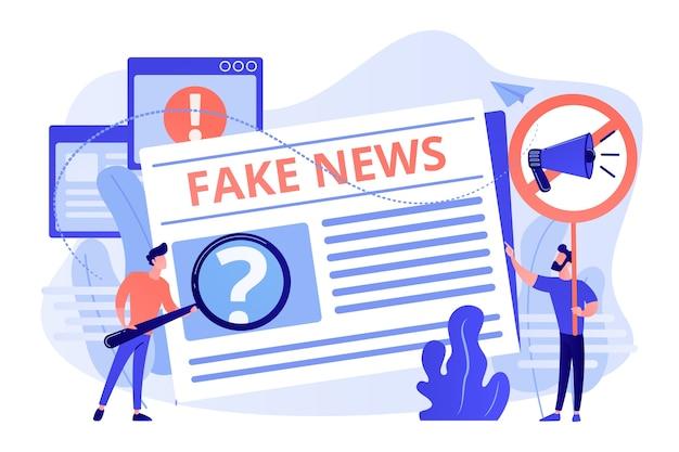 Falsche informationsübertragung. presse, zeitungsjournalisten, redakteure. gefälschte nachrichten, junk-news-inhalte, desinformation in der illustration von medienkonzepten