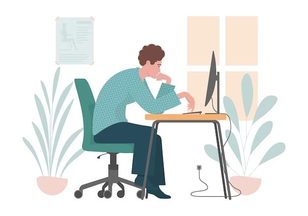 Falsche sitzhaltung. flache illustration mit mann, der an einem computer arbeitet.