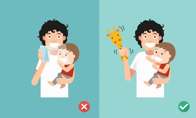 Falsche und richtige art, mit kindern zu spielen. das smartphone kann die soziale und emotionale entwicklung beeinträchtigen