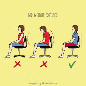 Falsche und richtige art zu sitzen