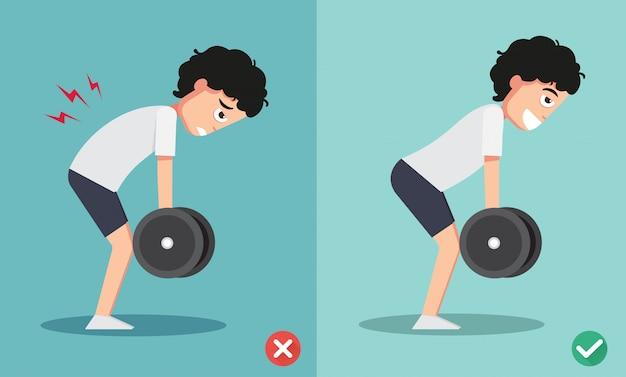 Falsche und richtige gewichtshaltung