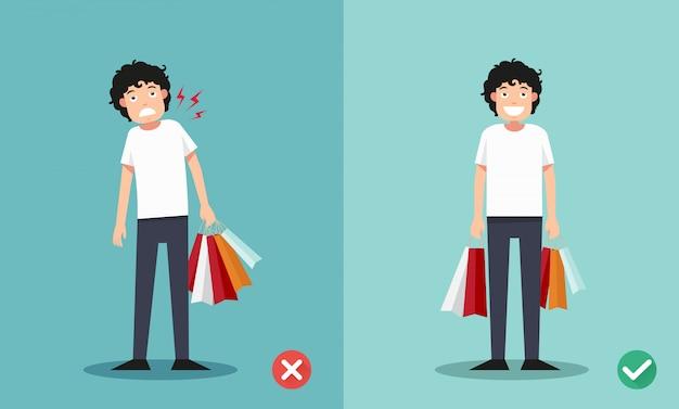 Falsche und richtige möglichkeiten, einkaufstaschen zu halten