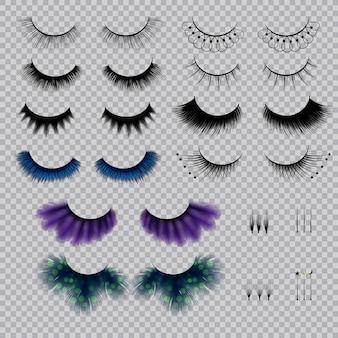 Falsche wimpern in verschiedenen formen und farben realistisch eingestellt