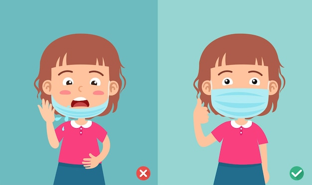 Falsches und richtiges tragen der maske, um die infektion zu verhindern