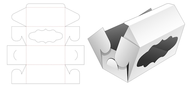 Faltbare beery-box mit gestanzter schablone für kurvenfenster