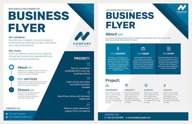 Faltbare business-flyer-vorlage im blauen modernen design