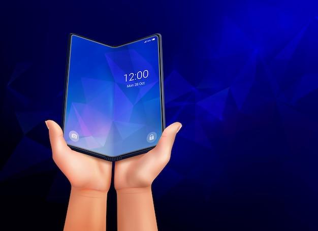 Faltbare smartphone-realistische komposition mit dunkelblauem umgebungshintergrund und offenem telefon, das in menschlichen händen liegt
