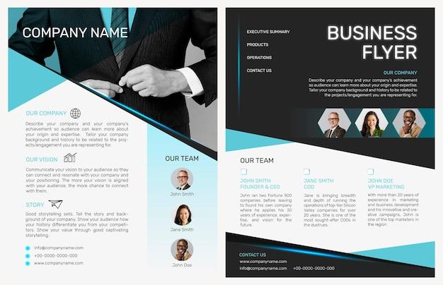 Faltbarer business-flyer-vorlagenvektor im modernen design