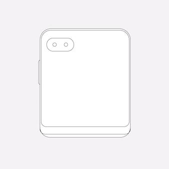 Faltbarer telefonumriss, rückfahrkamera, flip-telefon-vektorillustration