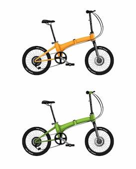 Faltbares fahrrad, bürgerfahrrad in der farbe realistisch auf weißem hintergrund