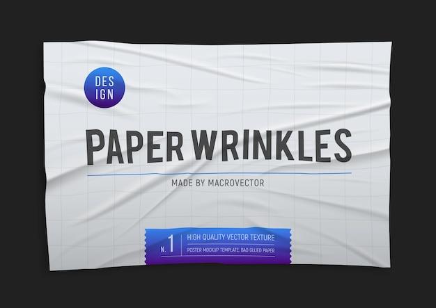 Faltiges, schlecht geklebtes, zerknittertes weißes papierplakat