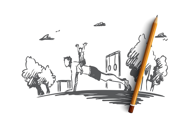 Familie, aktivität, vater, kind, liegestützkonzept. hand gezeichneter junger vater, der übungen mit seiner sohnkonzeptskizze tut.