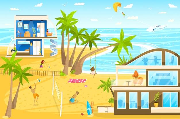 Familie am strandurlaub auf tropischer ferienortkarikaturillustration mit kindern, die mit ball und wasserpistole spielen, sandburgen bauen.