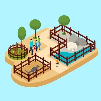 Familie an der zoo-illustration