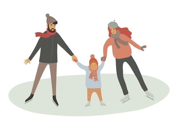 Familie auf der eisbahn. vater-, mutter- und kindrochen getrennt