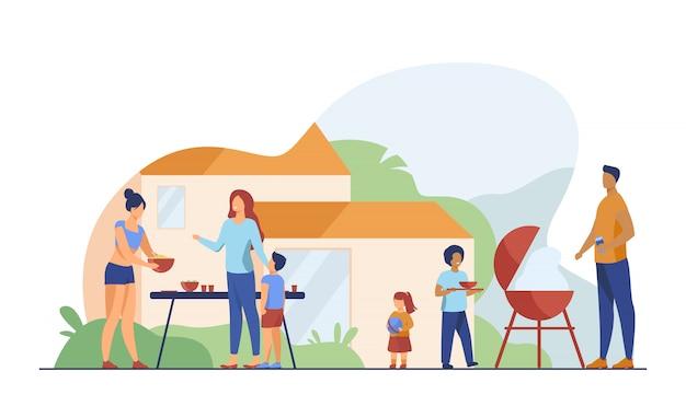 Familie auf der grillparty auf der flachen illustration des hinterhofs