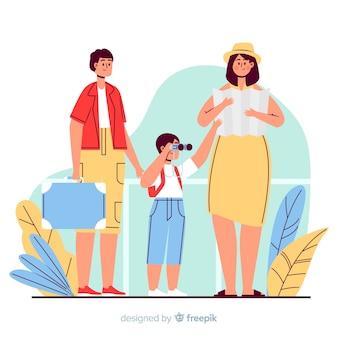 Familie auf eine reise gehen