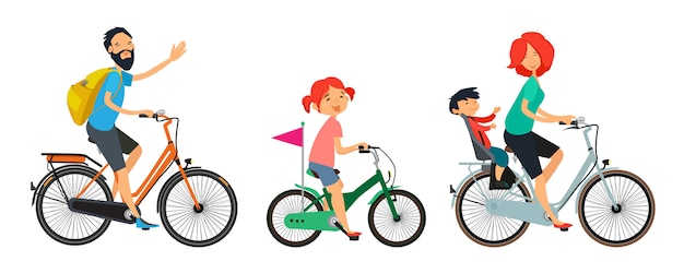 Familie auf fahrrädern zu fuß. mann und frau, die auf fahrrad fahren.