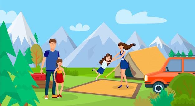 Familie auf picknick, kampierende reise-vektor-illustration