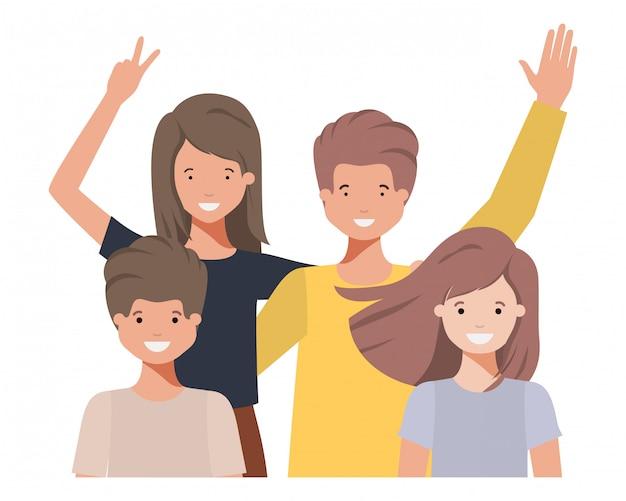 Familie avatar charakter winken