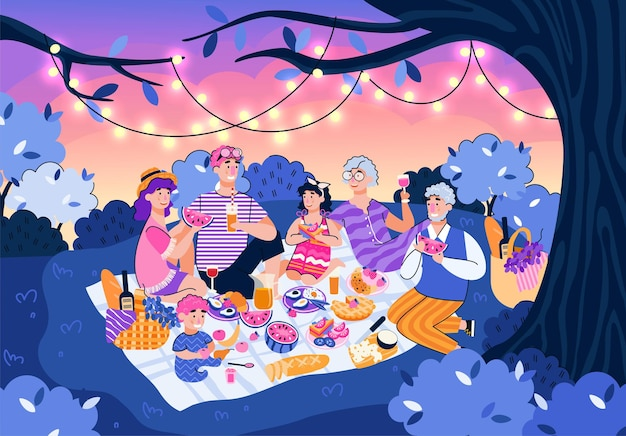 Familie bei nachtpicknick in der sommernaturkarikaturleute, die nahrung essen