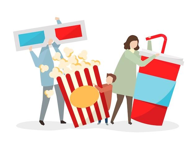 Familie bereit, einen film zu sehen