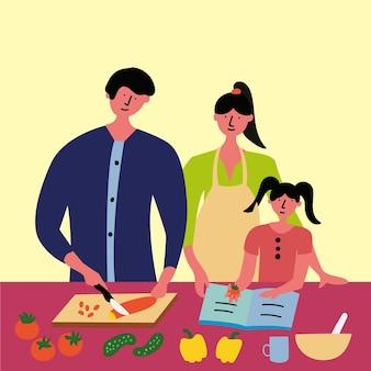 Familie bereitet frühstück mittagessen abendessen nach rezept zu