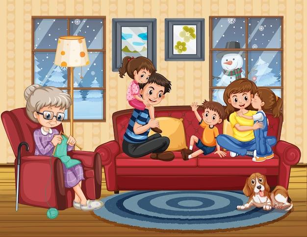 Familie bleibt zu hause Kostenlosen Vektoren