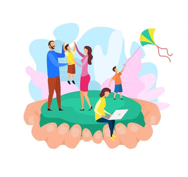 Familie, die abstrakte flache vektor-illustration verpfändet