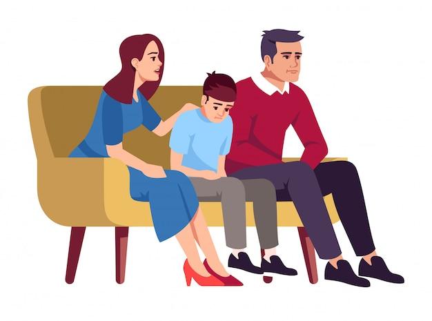 Familie, die auf couchillustration sitzt