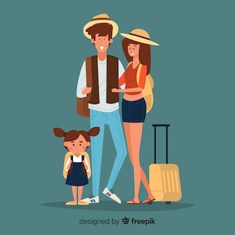 Familie, die auf einen reisehintergrund geht