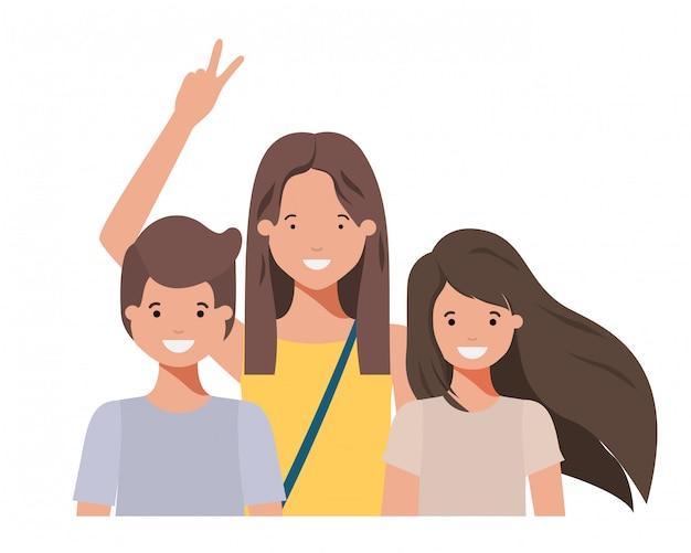 Familie, die avataracharakter lächelt und wellenartig bewegt
