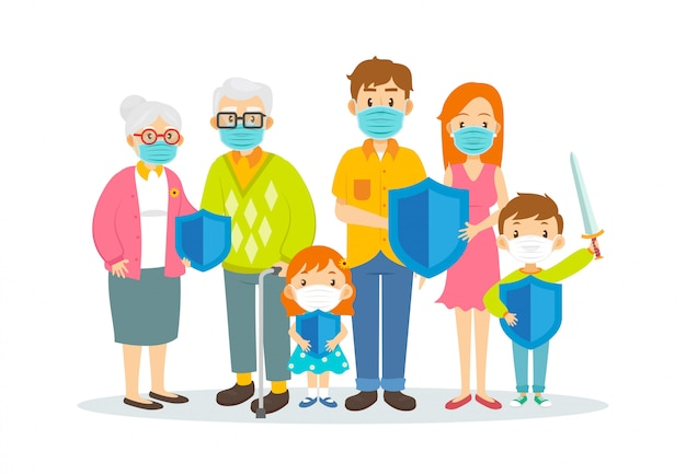 Familie, die chirurgische masken trägt und schutzschilddesign hält