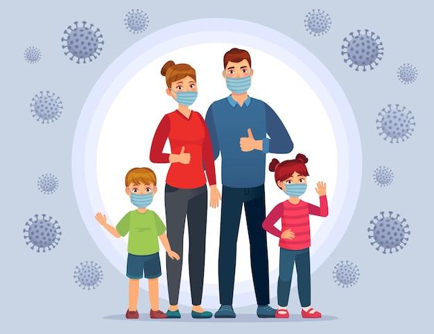 Familie, die coronavirus-schutzmaskenillustration trägt.