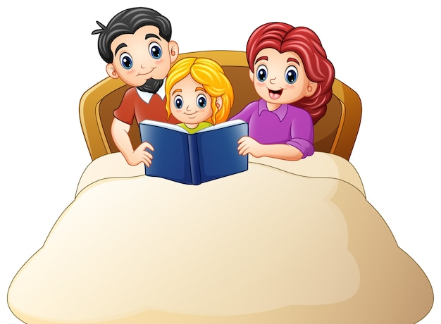 Familie, die ein buch zur tochter auf bett liest