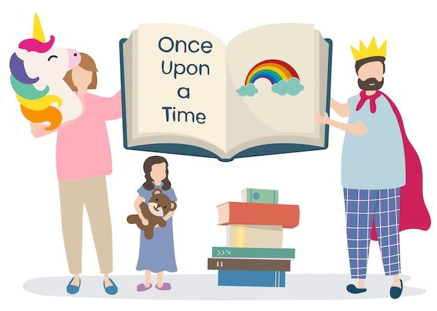 Familie, die ein geschichtenbuch liest