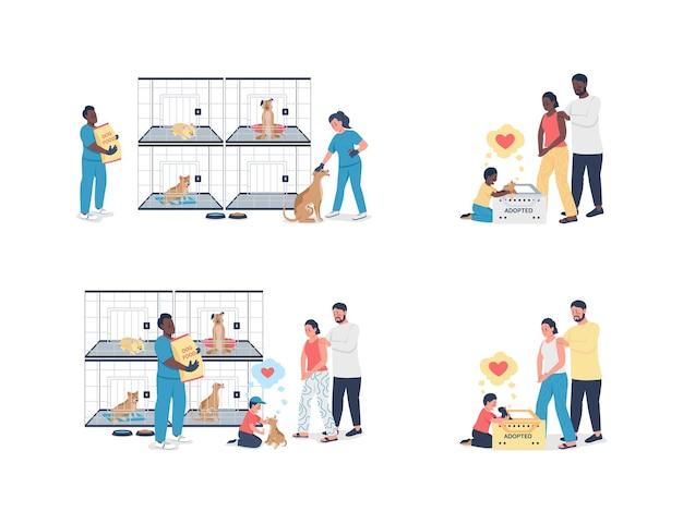 Familie, die ein haustier aus dem tierheim mit flachem, detailliertem zeichensatz adoptiert. wohltätigkeitsorganisation. obdachlose tierrettung isolierte karikatur