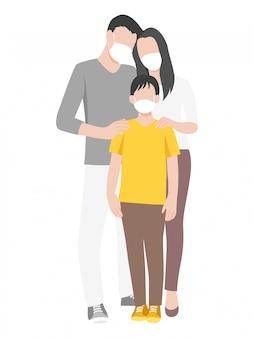 Familie, die eine chirurgische schutzmaske trägt, um das covid-19-corona-virus zu verhindern