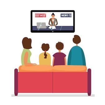 Familie, die fernsehnachrichten sieht.